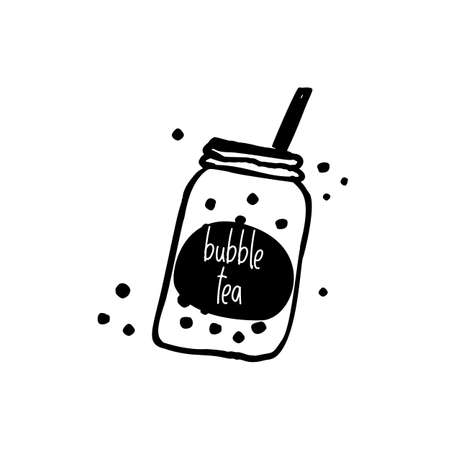 illustration of mug with Bubble milk tea.