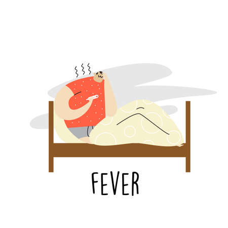 Man lying in bed with fever.  cartoon illustration.