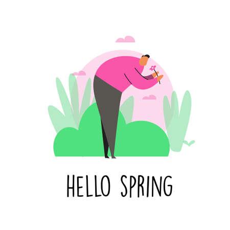 Funny cartoon illustration. Hello spring. Isolated on white.