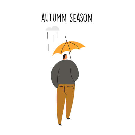 Flat illustration of man walking alone under umbrella.
