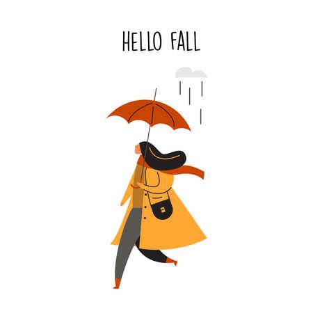 Flat vector illustration of woman running with umbrella. Hello fall.
