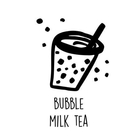 Bubble milk tea. Hand drawn vector illustration of popular taiwanese drink Ilustrace