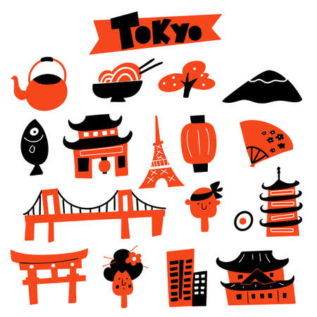illustration of Tokyo symbols and attractions.