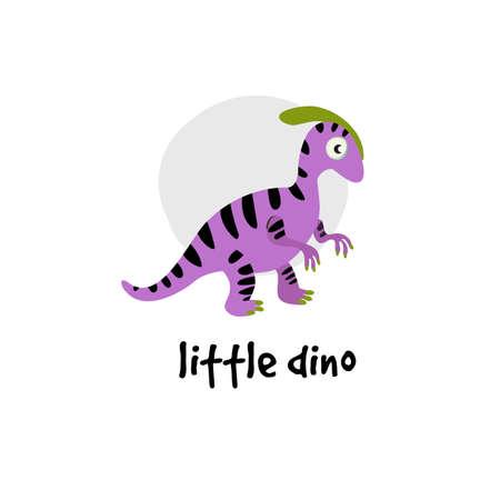Cute vector cartoon illustration of dinosaur. Parasaurolophus Inscription Little dino.