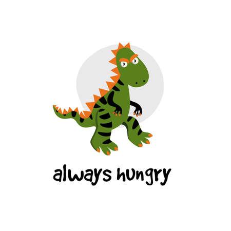 Vector cartoon illustration of dinosaur. T rex,, tyrannosaur. I