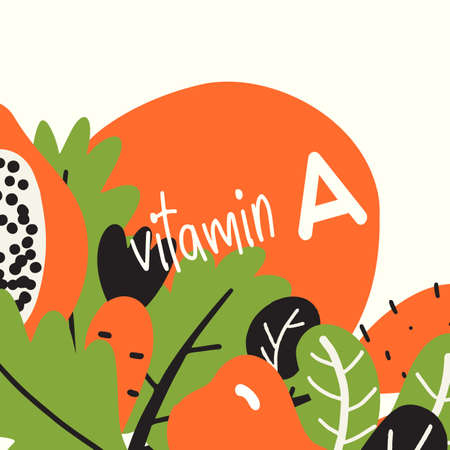 Vitamin A. Vector illustration with fruits and vegetablesfull of vitamin A
