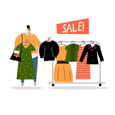Vector cartoon illustration of woman near hanger choosing clothes. Sale concept. Shopping. Stock Illustratie