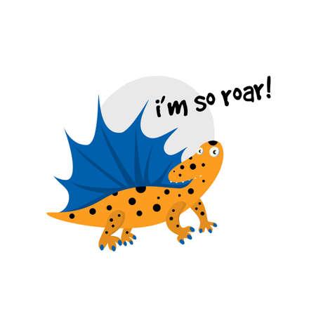 Cute cartoon illustration of dinosaur. 向量圖像