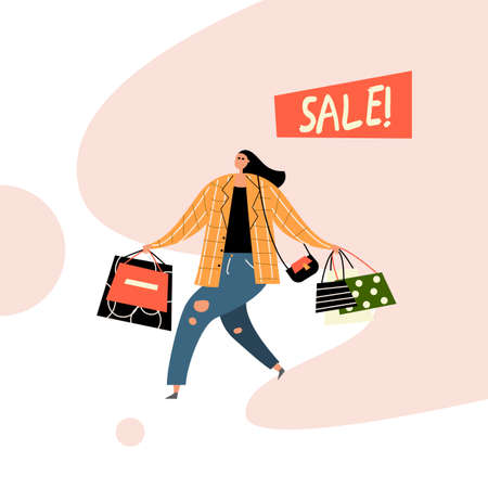 Vector illustration of woman with shopping bags. Sale Иллюстрация
