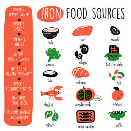 Iron food sources and health benefits. Infographic poster. Vector design