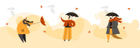 People with umbrellas under the rain. Autumn collection. Flat vector illustration. Horizontal banner.