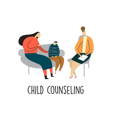 Vektorkarikaturillustration der Mutter und ihres Kindes, die auf einem Sofa sitzen und mit Psychotherapeuten sprechen. Kinderberatung Vektorgrafik