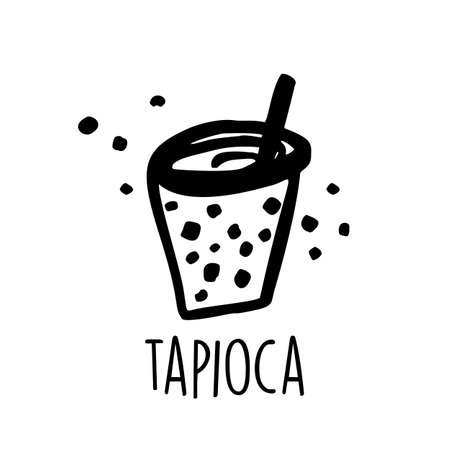 Tapioca pearl tea. bubble tea. Hand drawn vector illustration.
