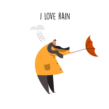 Flat vector illustration of man trying to hold his umbrella on a gusty wind Ilustração