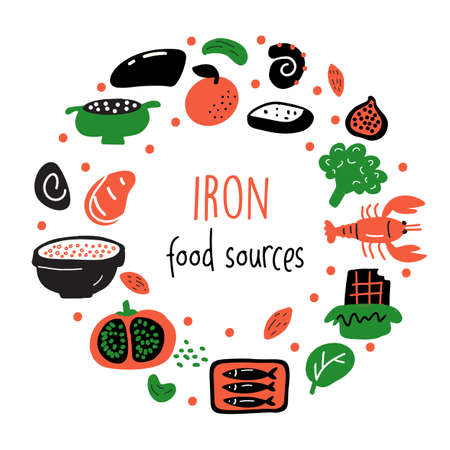 Iron food sources. Vector cartoon illustration of iron rich foods in circle