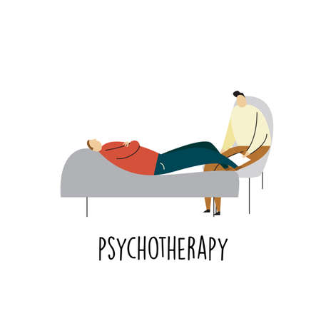Illustration of a man lying on a sofa and talking with psychotherapist. Psychotherapy. Vector cartoon illustration