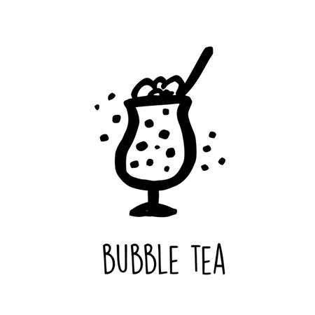 Funny hand drawn vector illustration of bubble tea