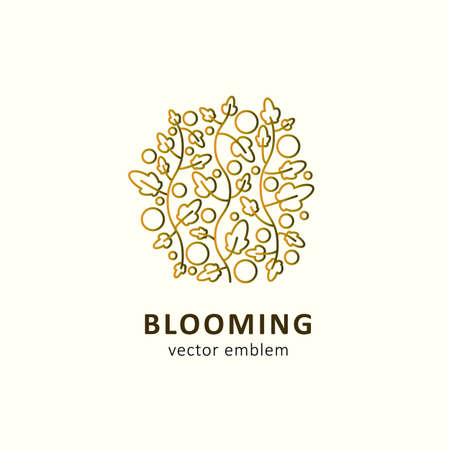 Abstract leaves and fruits in outline style. Vector emblem, logo concept for ecolabels, flower shops. Blooming.