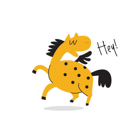 Vector cartoon illustration of funny horse with wings and phrase HEY Ilustração
