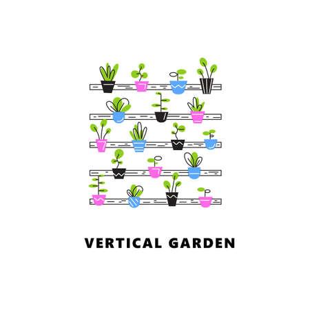 Vertical garden. Vector illustration of plant in outline style.