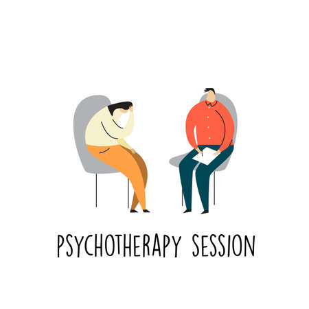 Vector cartoon illustration of depressive woman talking with psychotherapist. Psychotherapy session. Ilustração