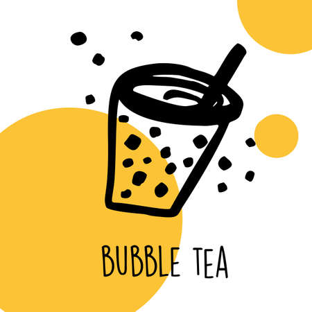 Funny hand drawn illustration of bubble tea. Vector template. Ilustração