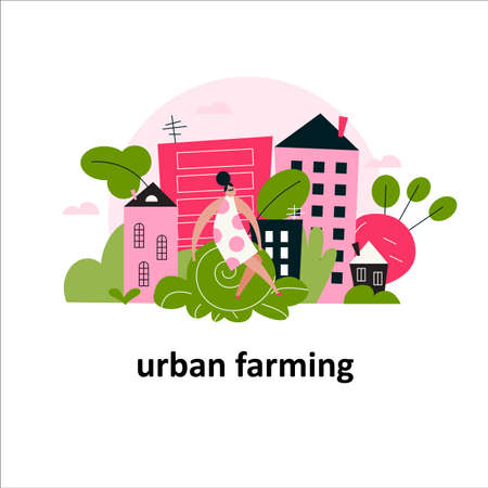Vector cartoon illustration of woman sitting on a big cabbage and city landscape. Urban farming concept.