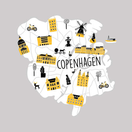 Funny vector srtylezed illustrated map of Copenhagen with different attractions and landmarks.