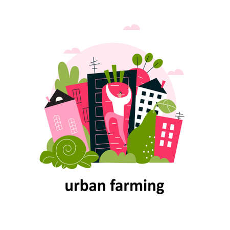City landscape with big fruits and vegetables and man climbing on a carrot. Urban farming concept. Vector cartoon illustration.