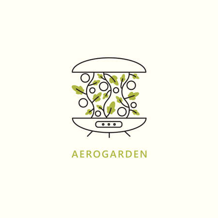 Hydroponic system vector illustration in outline style. Aerogarden