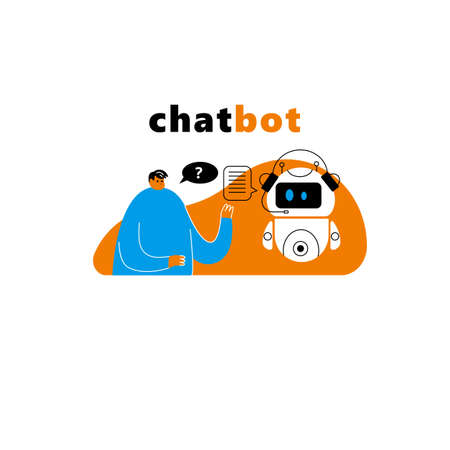 Vector illustration of men talking with chatbot. Artificial intelligence concept