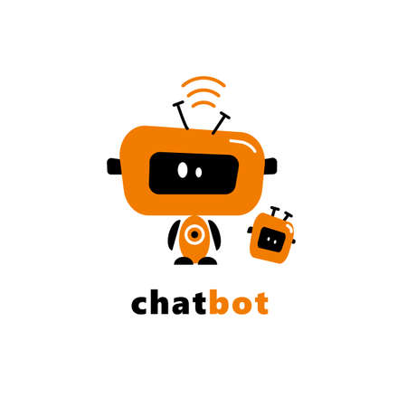 Vector illustration of funny robots. Chatbot concept