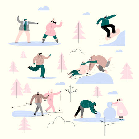 People in the park doing different winter activities. Vector set. Illustration of ice skater, skiing, couple, playing snowballs and making snowman, sledding, snowboarding.