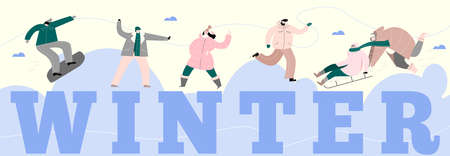 People and winter activities. Vector illustration of people, playing in snowballs, ice skater, sledding, skateboard. Web banner. Ilustração