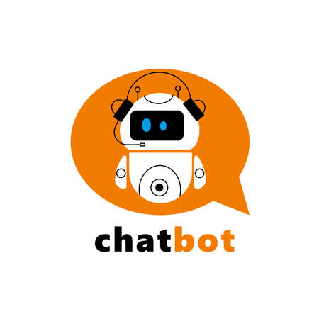 Cute vector cartoon illustration of chatbot in a speech bubble.