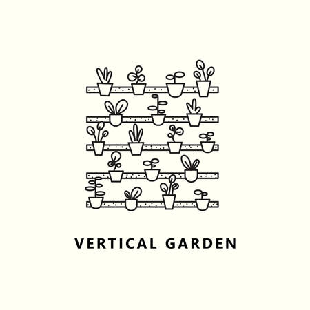 Vertical garden. Vector illustration of plant in outline style.
