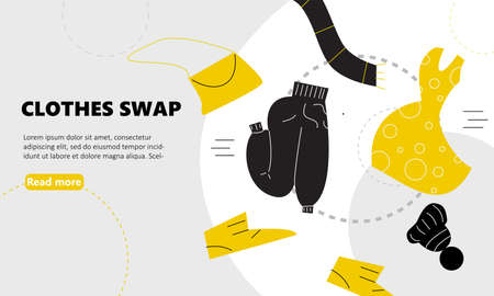 Vector illustration of different clothes for exchange. Swap clothes concept. Web banner.
