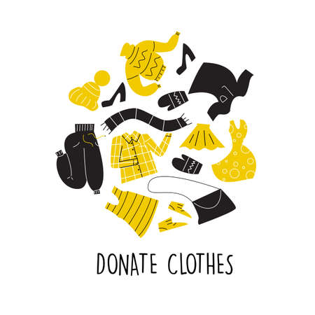 Vector Illustration of different clothes for donation. Circle composition. Charity day and social care concept. Second hand, flea market Ilustração