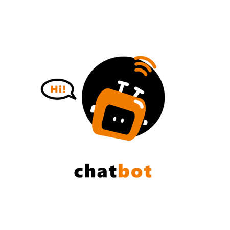 Vector illustration of funny chatbot say Hi. Artificial intelligence concept
