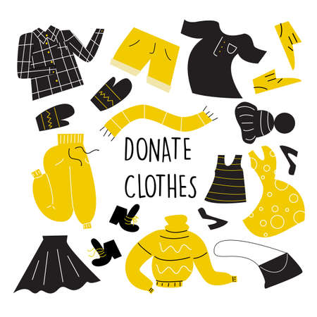 Illustration of different clothes for donation. Vector set. Charity day and social care concept. Second hand, flea market.
