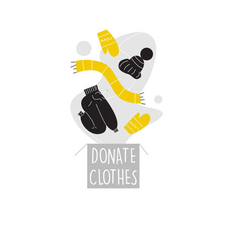 Vector illustration of donation box, pants, hat, scarf and mittens. Clothes donation concept