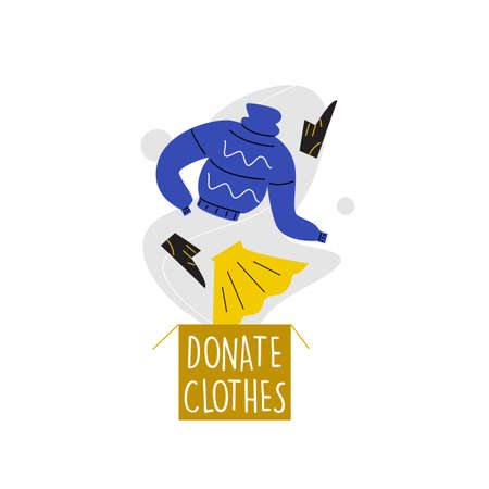 Vector illustration of donation box and knitwear, shoues and skirt, jumping in it. Clothes donation concept Ilustração