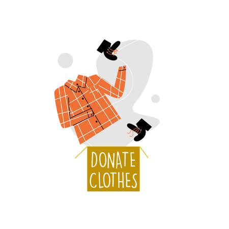 Vector illustration of donation box and shirt with shoes, jumping in it. Clothes donation concept