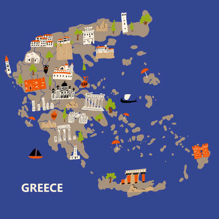 Stylized illustrated map of Greece. Vector design in handdrawn style.