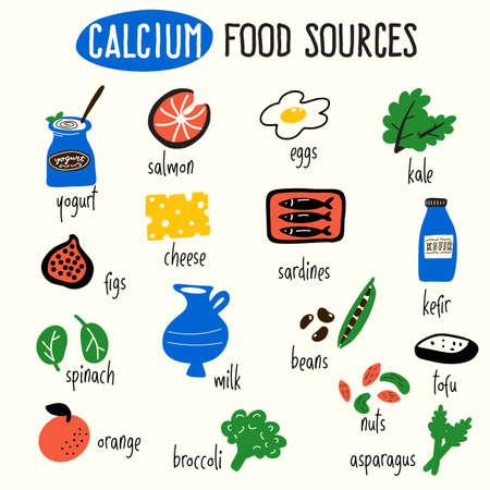 칼슘 식품 소스의 벡터 만화 그림입니다. 인포 그래픽 요소.