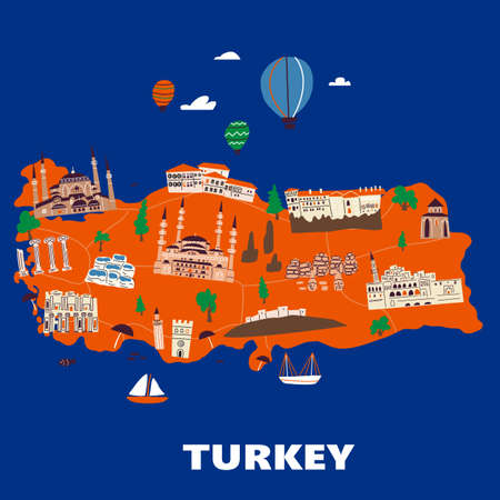 Stylized illustrated map of Turkey. Vector design in handdrawn style.