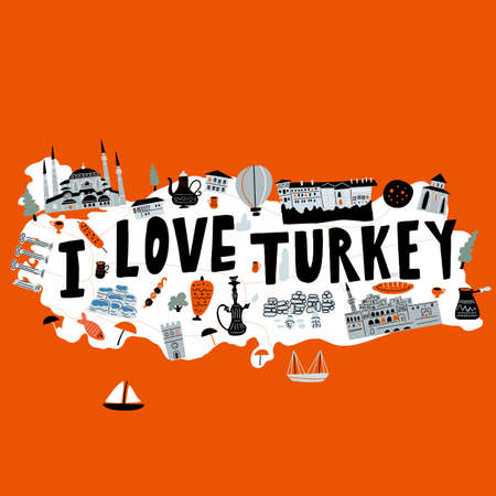 Stylized illustrated map of Turkey. Vector design in handdrawn style. I love Turkey. Ilustração