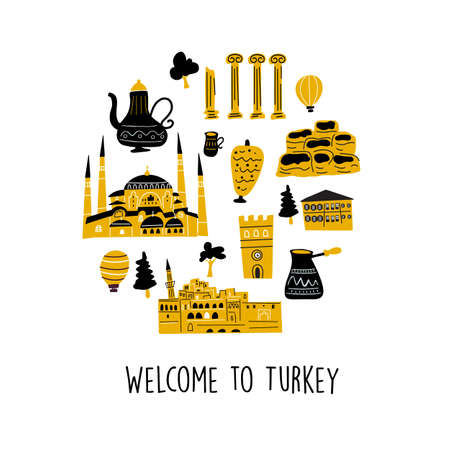 Vector illustration of different turkish attractions and landmarks in circle. Welcome sign. Ilustração