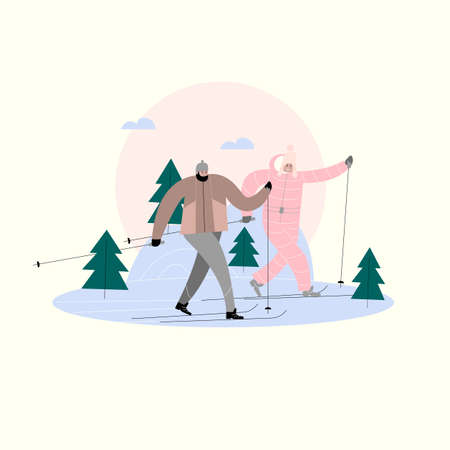 Vector illustration of man and woman skiing in the winter forest