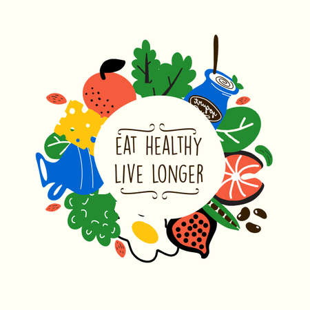 Healthy food vector illustration. Eat healthy live longer. Ideal for eco market, organic labels.